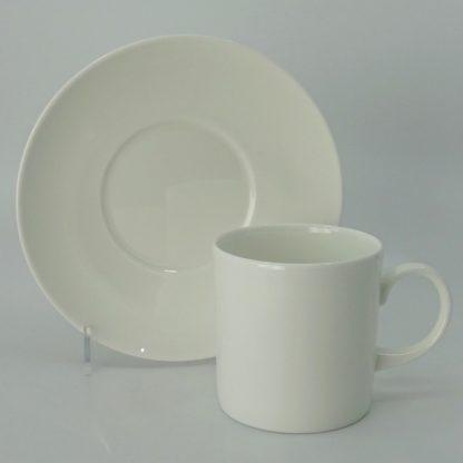 Wedgwood White Koffiekop Can met Schotel